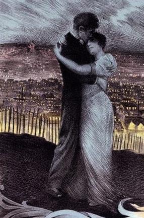 Poster at Theatre National de l'Opera-Cominque in Paris, 1900 (Georges Rochegrosse, 1859-1938:PD.reprod of PD art, artist life)