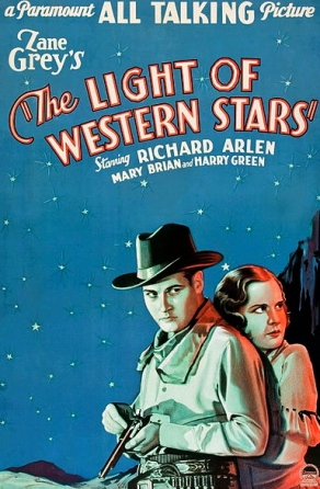 """couple on horse under starry sky/1930 movie poster.""""Light of the Western Stars"""".Paramount/USPD.pub.date/Commons.wikimedia.org)"""