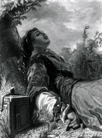 Reclining giant woman against a tree with tiny man at her side. Gulliver and Glumdalclitch/1850's French edition of Gulliver's Travels/USPD.pub.date/LoC/Commons.wikimedia.org)
