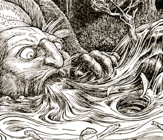 troll sucking up water. 1916 Europa's Fairy Book/NYLib./USPD.pub.date/Commons.wikimedia.org)