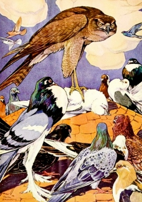 Eagle talking to birds.1921 Argosy of Fables. Cooper/NY lib./USPD.pub.date/Commons.wikimedia.org)