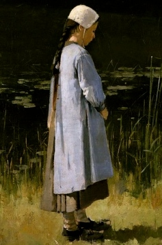 Thoughtful girl standing by water. girl. Angelus. 1879. by Theodore Robinson 1852-1896./Colby College Museum of Art/USPD. artist life, reprod of PD art/Commons.wikimedia.org)