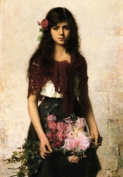 young girl holding flowers. (Alexei Harlamov 1840-1925/USPD.artist life /Commons.wikimedia.org)