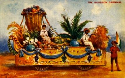 Post card. Houston Carnival Float, No-Tsu-Oh Carnival.1899-1917. Ralphael Tuck and Sons /UH lib.special collections/USPD/Commons.wikimedia.org