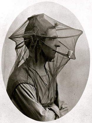 Man with mosquito net as a veil/UK Wellcome Trust/Commons.wikimedia.org)