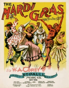 costumed Mardi Gras crowd on sheet music cover. Mardi Gras March. ET Paull Music Co.NY 1897/USPD/Commons.wikimedia.org