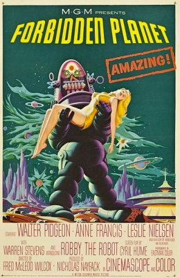 movie poster. 1956. Robby the Robot in the Forbidden Planet./Lowe's/USPD.cr not renewed, pub.date/Commons.wikimedia.org)