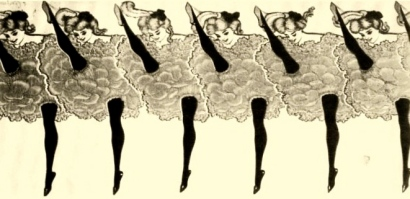 . Line of cancan dancers/ Danseuses cancan.Bonnot/USPD.pub.date,artist life+/Commons.wikimedia.org)