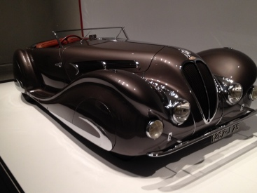 Sleek bronze roadster.1937 Delahaye 135 Roadster by French coach builders Figoni and Falaschi. All rights reserved. Copyrighted. NO permissions granted