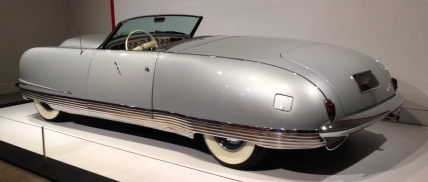 Side view of Chrysler Thunderbolt showing wrap around chrome. ALL rights reserved. NO permissions granted. Copyrighted.