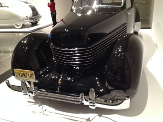 Black Art Deco era car with a coffin nose. ALL rights reserved. NO permissions granted. Copyrighted. MFAH exhibit