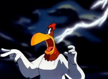 "Foghorn Leghorn and lightning strike PD short film ""Crowing Pains."" Warner Bros./USPD: pub.date, cr not renewed/Commons.wikimedia.org)"