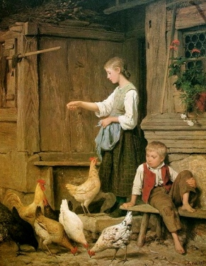 Painting of chickens and children in a yard, 1865. Albert Anker, 1831-1920./USPD. artist life/Commons.wikimedia.org)