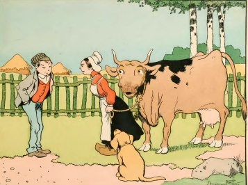 couple with cow. Benjamin Rabier (USPD.pub.date, artist life/Commons.wikimedia.org)