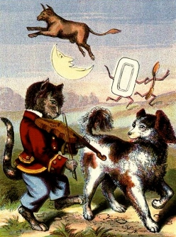 Cow over the moon. Edward Cogger Nursery Rhymes:USPS. Pub.date artist life:Commons.wikimedia.org)