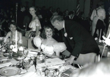 Emerald Room Grand Opening Party, March 17, 1949. Seated is Glenna McCarthy talking with Gov. Beauford Jester (Hous. Chronicle)