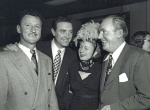 Grand Opening of Shamrock Hotel. March 17, 1949. Glenn McCarthy, actor Robert Paige, actor Pat O'Brien (Houston Chronicle)
