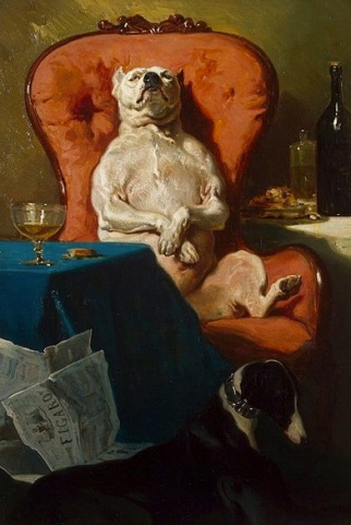 Pug dog in armchair. 1857. Alfred de Dreux. Heritage Museum(USPD.pub.date, artist life, reprod of PD art/Commons.wikimedia.org)
