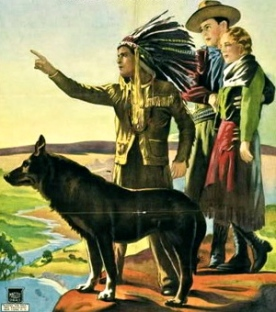 Rin Tin Tin, Native American chief and couple looking over cliff (Mascot pictures/CBS news.com/ Wikimedia.com))