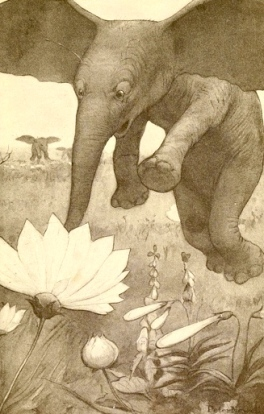 Elephant happily sniffing flowers. 1902 Through the Looking Glass and What Alice Found There. Carroll.Peter Newell, ill./Harper & Bros/PD. pub.date, artist life/Commons.wikimedia.org)