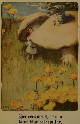 small girl under mushroom.1907 Alice in Wonderland. Carroll/Bessie Pease Guttman/USPD.pub.date/Commons.wikimedia.org)