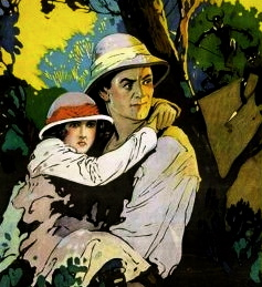 "Man carrying woman in jungle. 1922 film.""With Stanley in Africa"" Universal/USPD.pub.date/Commons.wikimedia.org)"