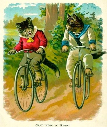 vintage cats on bikes. 1880. (Pearl Series by McLoughlin Bros. Pub./USPD.pub.date/Commons.wikimedia.org)