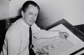 Charles Schulz with Charlie Brown sketch from Peanuts (Higgins, World Telegraph photographer/USPD. rights given to LOC/Commons.wikimedia.org)