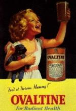 girl on Ovaltine advertisement. (radioarchives.com)