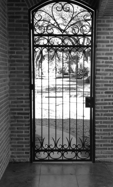 BW doorway with gate. ALL rights reserved. NO permissions granted. Copyrighted