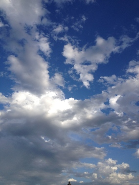 White clouds in blue sky. ALL rights reserved. Copyrighted. NO permissions granted