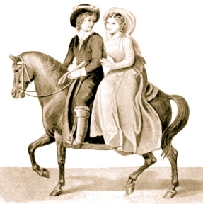 "Couple on horse with woman riding riding pillion. Project Gutenberg.(Gibey) ""Horses: Past and Present"".(Close of 19th century.)"