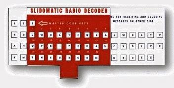 Slidomatic Radio Decoder by Quaker Puffed Wheat and Rice Sparkies/ Olsen. radioarchives.com)