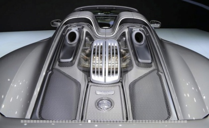 Partly robot crafted, so wonder it's robot looking 2015 Porsche 918 rear view. (Image: caranddriver.com)