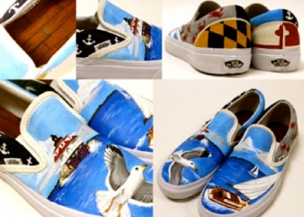 Shoes with seagulls and ocean scenes. Local color Enrty by Catoctin HS THurmont, MD.( vanscustomcultrue.votenow.tv)
