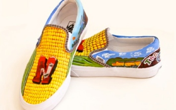 Shoes with corn design Local color entry by Fort Calhoun HS, Fort Calhoun, NE. Van shoes. Custom Culture Contest)