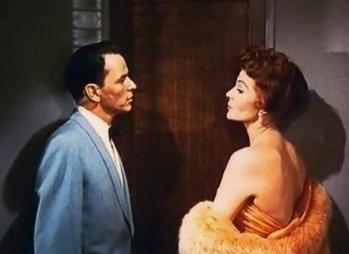 "Frank Sinatra talking to Rita Hayworth. Columbia Pict. ""Pal Joey"" movie trailer.1957(USPD: pub.date, no cr notice/Commons.wikimedai.org)"