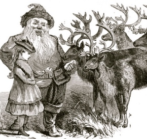 Union negociations among girl, Santa and reindeer. 1878 (USPD.pub.date/Commons.wikimedia.org)