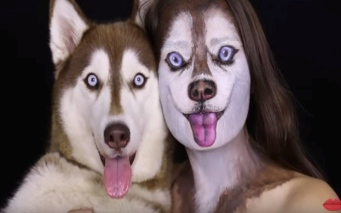 Husky friends all made up. (YouTube. llanaMkeup artist.)