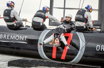 Lindsey Vonn on board Oracle getting into the sailing frame of mind.. (America's Cup Facebook page/Red Bull staff)