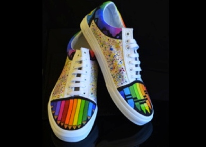Colorful shoes with crayons images on front. Art Category entry by McNary HS., Keizer, OR (vanscustomculture.votenow.tv:)