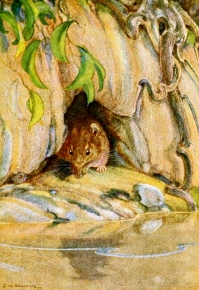 "rat hiding in little cave in front of water.""It was the Water Rat"" - caption of front piece illistration. 1913 Wind and the Willows.Graheme/Bransom, ill./USPD: Pub.date, artist life/Commons.wikimedia.org)"