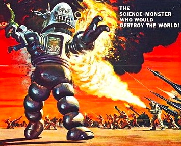 Robot gone bad. 1956. MGM movie poster.Reynold Brown/USPD: pub.date, no cr renewal/Commons.wikimedia.org)