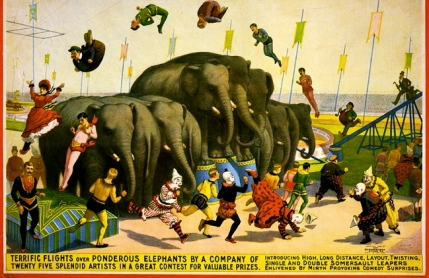 elephants act with acrobats. Circus Poster 1899.(USPD: pub.date, artist life, LoC /Commons.wikimedia.org)