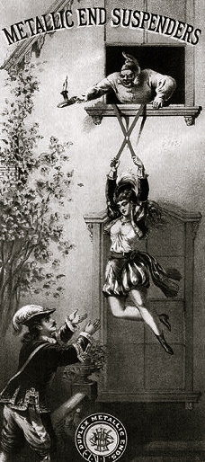 girl eloping from balcony using father's suspenders. Graphic Co. Litho. (USPD.1874 pub.date, artist life/LoC/Commons.wikimedia.org)