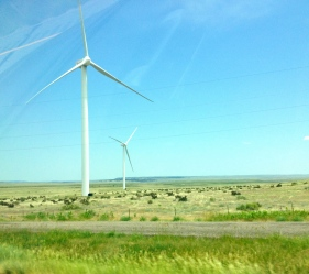 two wind mills, wind turbins by road. ALL rights reserved. Copyrighted. NO permissions granted