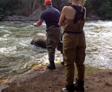Couple in waders fly fishing in CO. ALL rights reserved. NO permissions granted. Copyrighted.