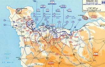 Map of D-Day invasion of Normandy, France. Eisenhower Center for Military History. (military.com)