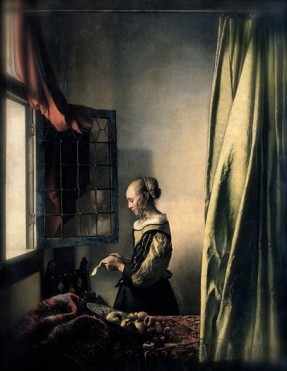 Vermeer painting of Girl Reading a Letter by and Open Window. (PD: Artist life, pub.date:1659 /Google Art Project:/Wikimedia.org)