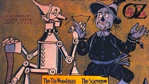 Tinman and scarecrow. 1900 poster Wonderful Wizard of Oz. Geo.M.Hill Co. (USPD:pub.date/Commons.wikimedia.org)